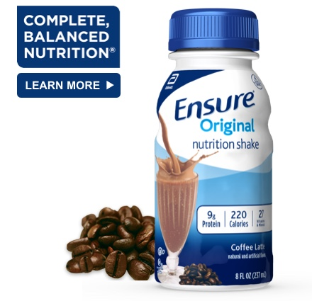 8 oz Ready-To-Drink Ensure® Original Coffee Latte Protein Shake Bottle