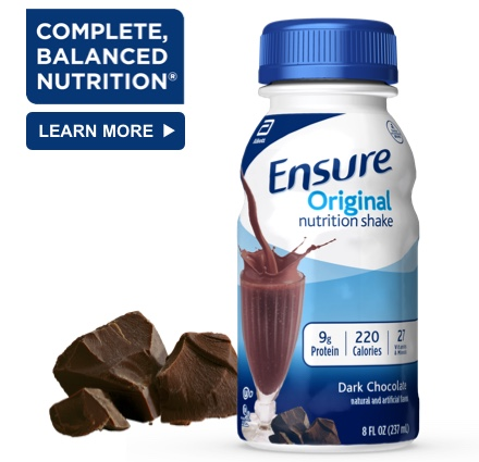 8 oz Ready-To-Drink Ensure® Original Dark Chocolate Protein Shake Bottle