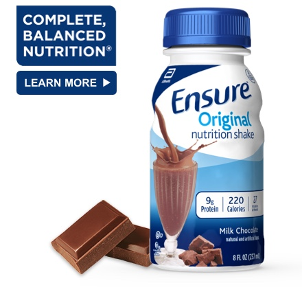 8 oz Ready-To-Drink Ensure® Original Milk Chocolate Protein Shake Bottle