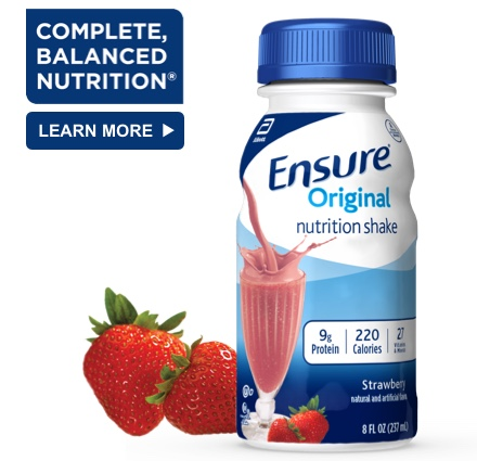 8 oz Ready-To-Drink Ensure® Original Strawberry Protein Shake Bottle