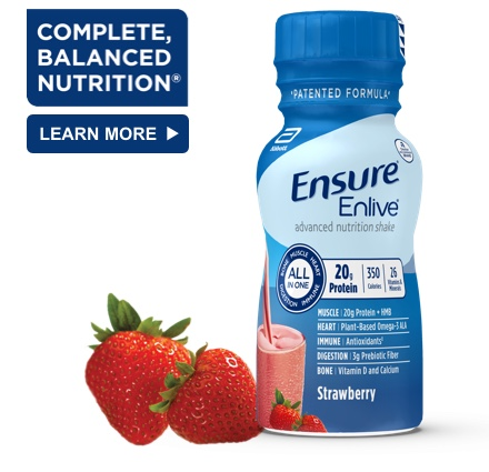 8 oz Ready-To-Drink Ensure® Enlive® Strawberry Protein Shake Bottle