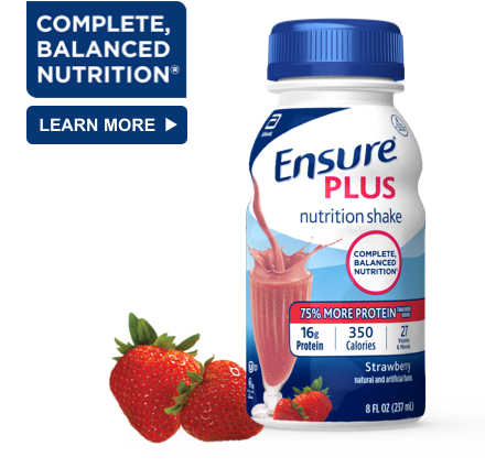 8 oz Ready-To-Drink Ensure® Plus Milk Chocolate Protein Shake Bottle