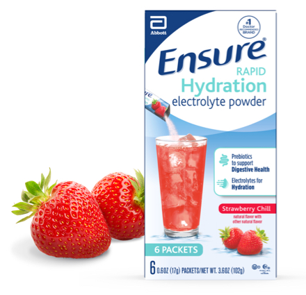 Ensure Rapid Hydration Electrolyte powder and drink mix in Strawberry