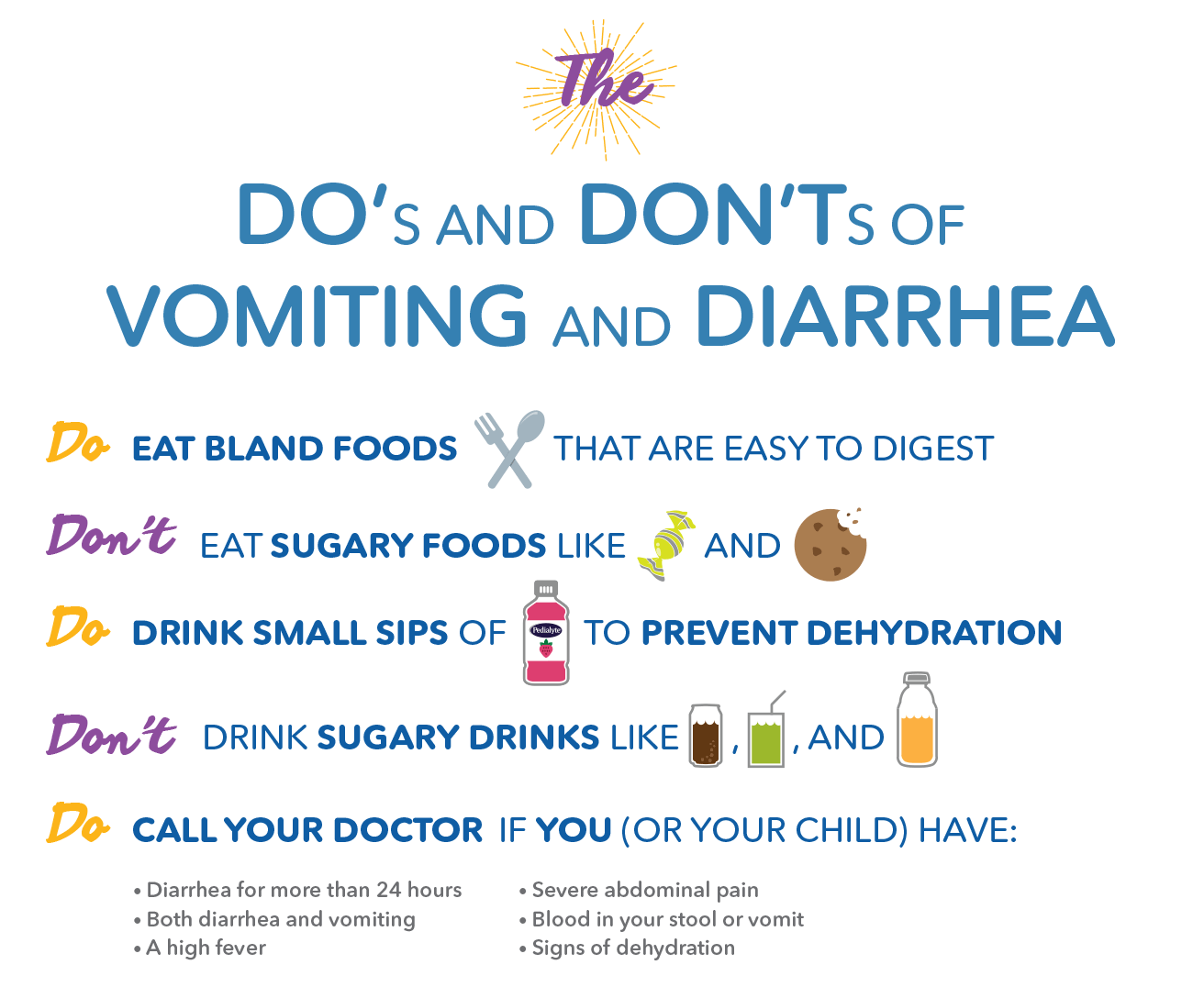 The do's and don'ts of vomiting and diarrhea, Pedialyte® can help