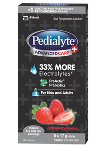 Pedialyte AdvancedCare Plus Electrolyte Powder with Prebiotics – Strawberry Freeze Flavour