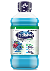 Pedialyte® AdvancedCare™ contains prebiotics and zinc for rehydration