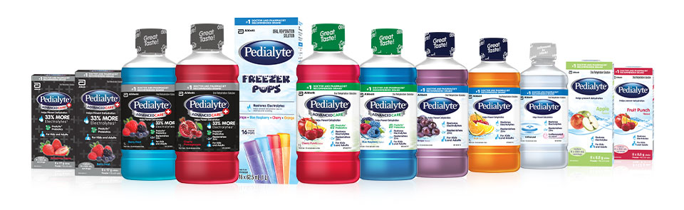 Pedialyte products help to replenish electrolytes and prevent dehydration in children and adults
