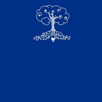 Drawing of a tree and its roots on a blue background