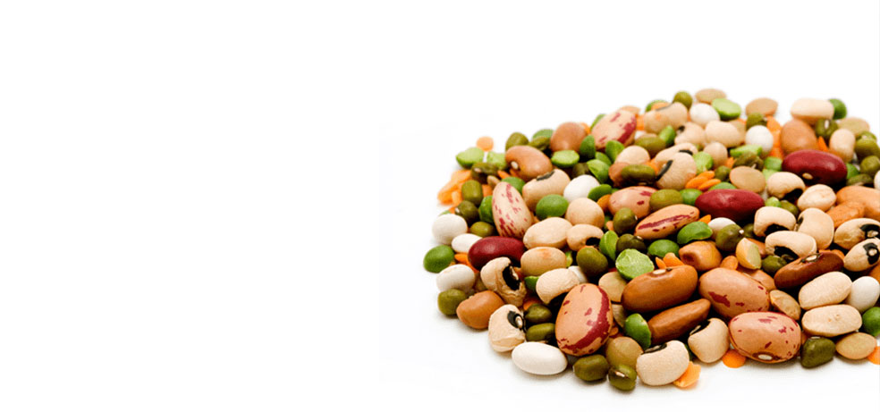A pile of different kinds of beans, peas and legumes