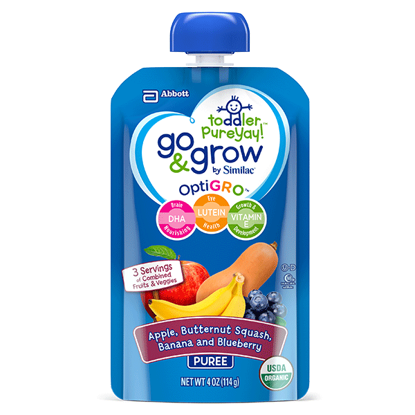 Toddler Food Squeeze Pouch with Banana, Apple, Butternut Squash & Blueberry