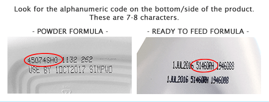 Images of alphanumeric codes for Similac baby formula products