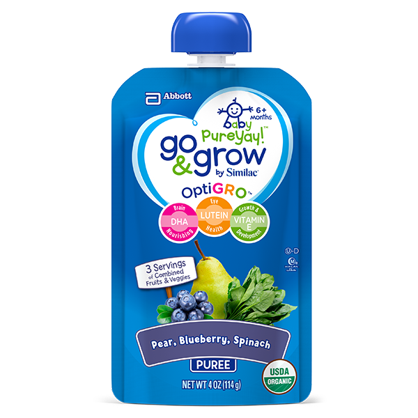 Baby Food Squeeze Pouch with Blueberry, Pear & Spinach