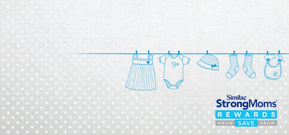 Drawing of baby clothes hung on a line to dry