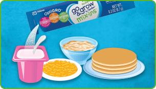 Pouring Go & Grow Food Mixins onto different breakfast, lunch and dinner meals