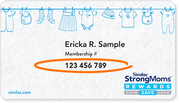 A membership ID card for Similac StrongMoms rewards