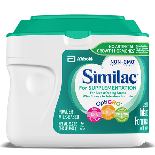 Similac NON-GMO supplementing formula meant for breastfed babies.