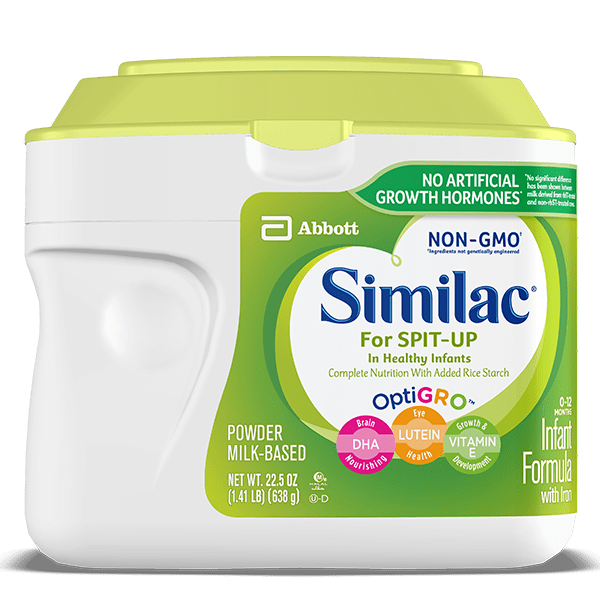 NON-GMO Similac baby formula for reducing spit-up.