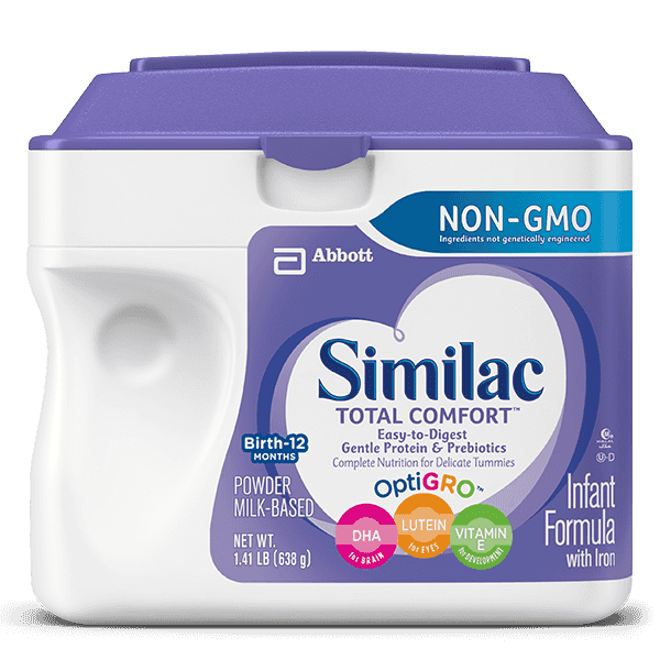 Similac Total Comfort NON-GMO formula for easy digestion.