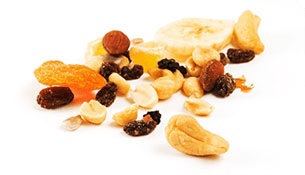 Trail mix with nuts, seeds, dried fruit, and chocolate-covered raisins